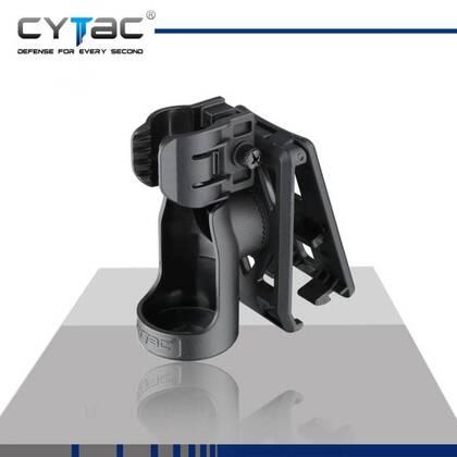 In de Cytac Universeel Zaklampholster passen de meeste Olight, Fenix en Surefire lampen. Gemaakt van militaire kwaliteit polymeer, hierdoor blijft het geheel ook licht in gewicht. Voorzien van een paddle aan de achterzijde om hem te bevestigen aan een riem of broekband. Kan tevens worden bevestigd op alle Cytac accessoires en mounts.