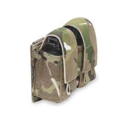 De Warrior Double 40mm Grenade Pouch Multicam kan 2 40mm, 37 mm of Flashbangs. De Warrior Double 40mm Grenade Pouch Multicam is uitgerust met 2 MOLLE trips en de pouch neemt 2 MOLLE rijen en 2 MOLLE kolommen in beslag.