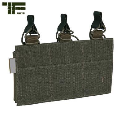 Deze TF2215 Triple M4 pouch Ranger Green kan bevestigd worden op de modular plate carrier of rig, maar ook op andere vesten en plate carriers die over klittenband beschikken. Er is ruimte voor 3 M4 / AK magazijnen welke worden gezekerd door bungee cord met hypalon pullers.