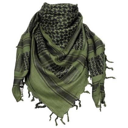 Shemagh zwart/groen van 100% katoen in een formaat van 100 bij 100 cm. Door de vele toepassingen is de shemag een onmisbaar uitrustingstuk.