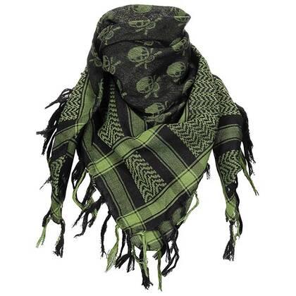 Shemagh zwart/groen met schedels van 100% katoen in een mooi formaat van circa 100 bij 100 cm.