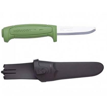 De Morakniv Safe is een vast mes met een stompe punt. Vlijmscherp snijvlak maar bescheming voor onderliggende materialen.