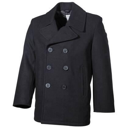De klassieke Amerikaanse Marine Pea Coat Zwart is een heerlijk warme jas.