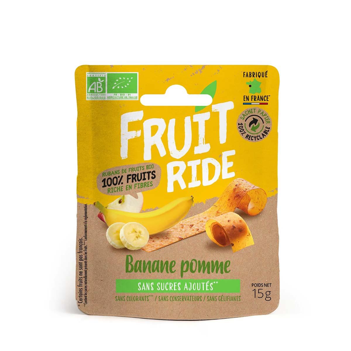 Fruit Ride Banaan Appel is een heerlijke fruitsnack in een klein jasje. 100% fruit, zonder toevoegingen en staat gelijk aan 100 gram fruit.