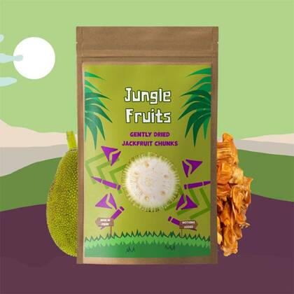 Jungle Fruits Jackfruit is een exotisch superfruit dat oorspronkelijk uit Zuid-India komt. Het heeft een smaak tussen een mix van banaan, ananas en mango.