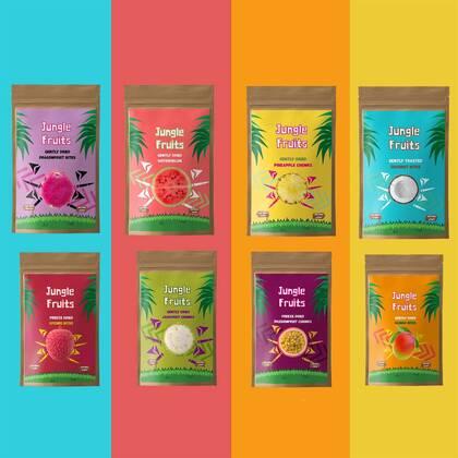 De Jungle Fruits Proefserie bevat alle beschikbare smaken die normaal los te verkrijgen zijn.